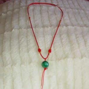 Jewelry - Chinese Red Chain With Green Stone